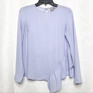 ASOS ruffle peplum purple long sleeve blouse